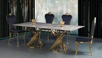Dalena Gold Metal Yemek Masası