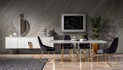 Glorya Beyaz Metal Yemek Odası