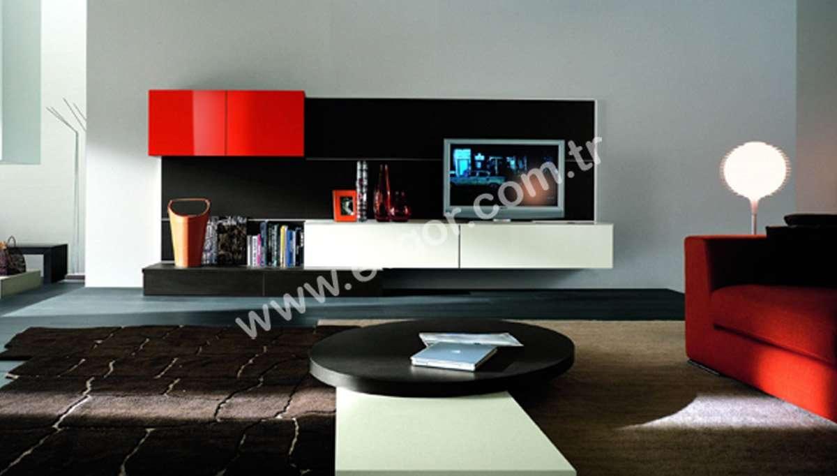 Kırmızı-Siyah Modern Duvar Ünitesi