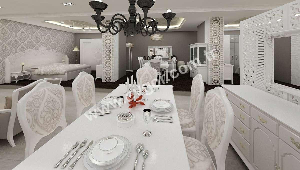 Larunte Beyaz Yemek Masası Modeli