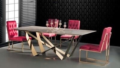 Portena Gold Metal Yemek Masası