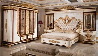 Safir Altın Varaklı Yatak Odası
