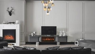 Secret Luxury Gri Şömineli TV Sehpası