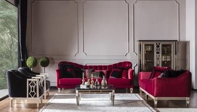 Simlayo Kırmızı Art Deco Koltuk Takımı